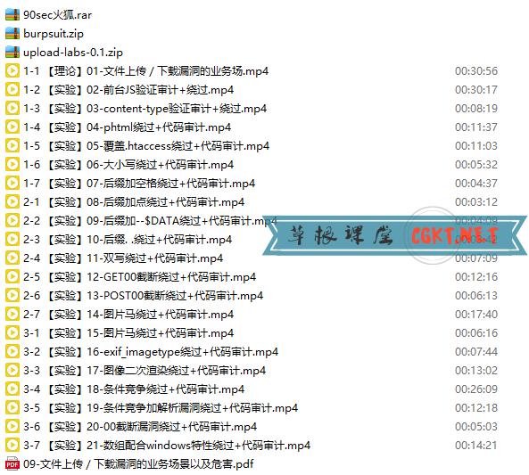 零基础学文件上传漏洞绕过及代码审计 视频教程下载 黑客攻防教程