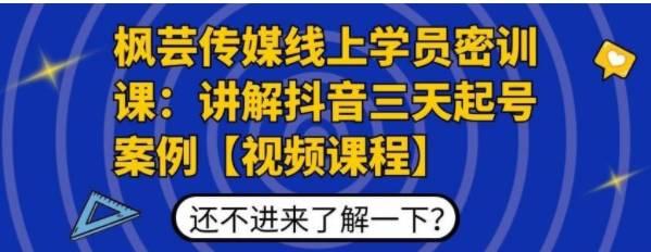 枫芸传媒线上学员密训课:讲解抖音三天起号案例 无水印